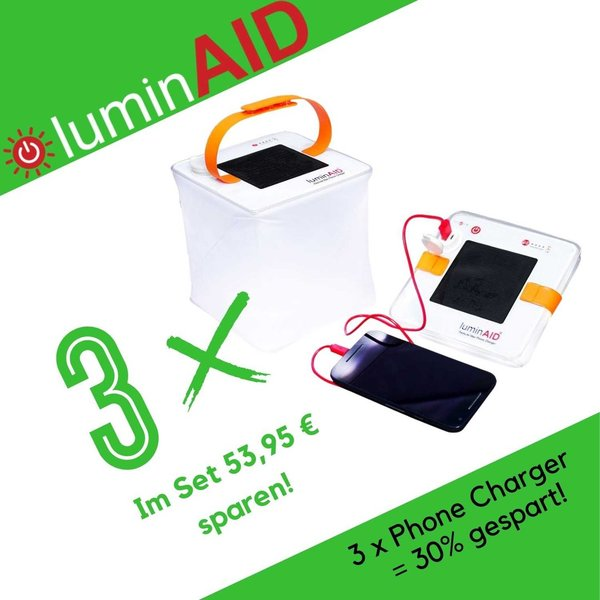 LuminAID - PackLite Max 2-in-1 Phone Charger 3 Pack - Solarlaterne